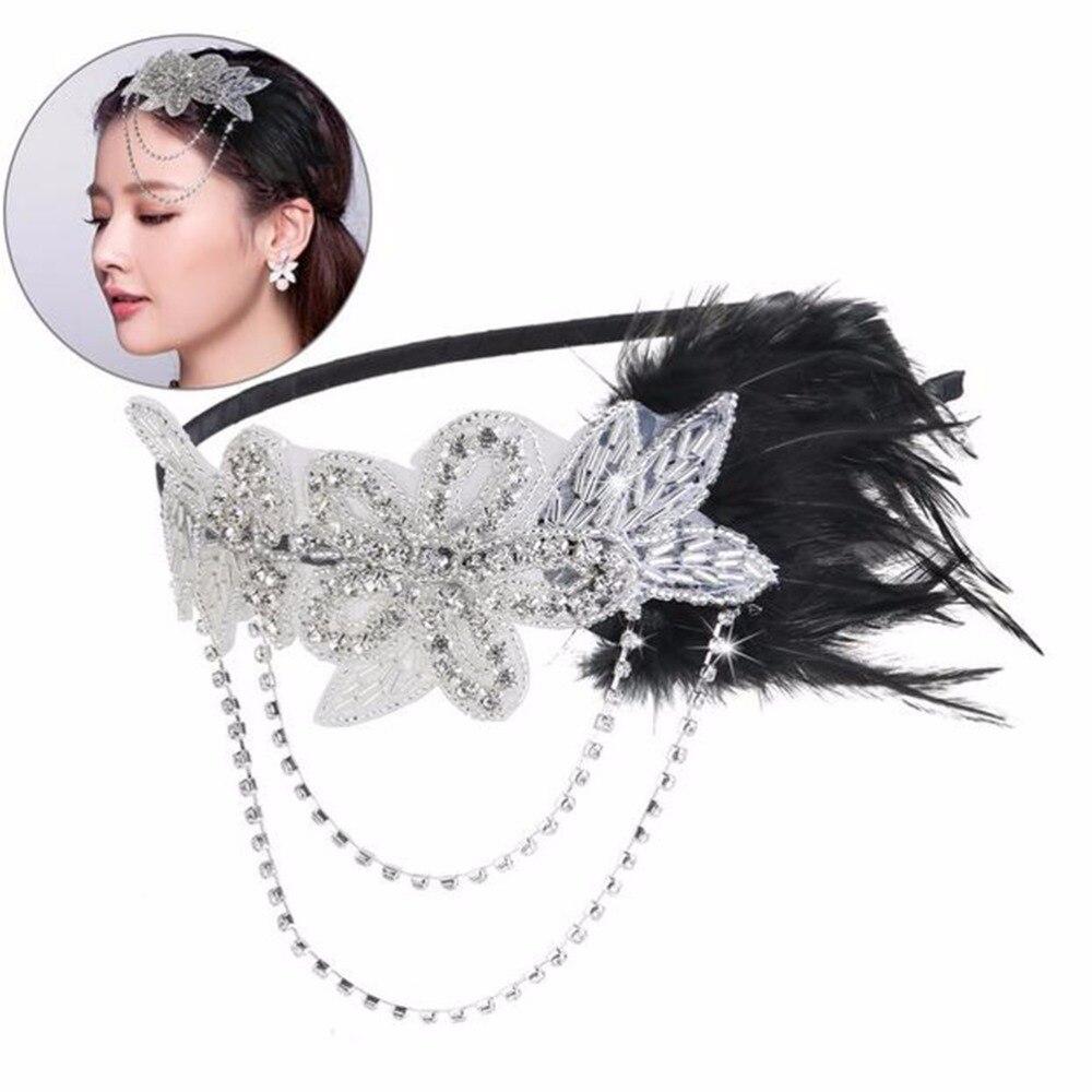 Diadema de plumas de plata con cuentas de cristal y lentejuelas para mujer 2f3a7aa9c29a