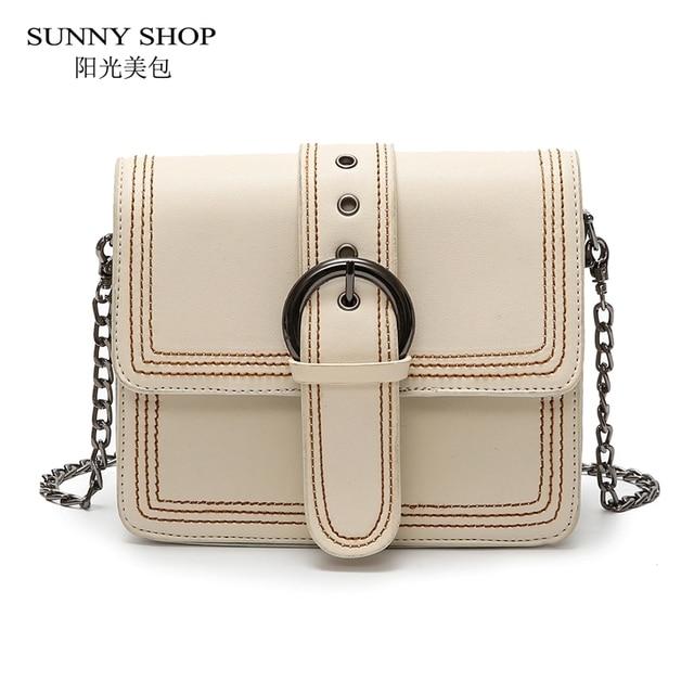 9524e1e898c5 SUNNY SHOP Vintage Thread Design Bag For Women 2018 Korean Style Flap Mini  Chain Woman Shoulder