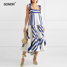 SONDR Striped Spaghetti Strap Long Womens Dresses Casual Off Shoulder Back Less Bow Lace Up Female Clothes 2019 Fashion