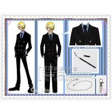 New Arrival One Piece Sanji Cosplay Costume Uniform Men Costumes Uniform Full Set 6 In 1 Coat+ Shirt+ Vest +Pants+Chain+ Tie