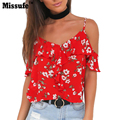 Missufe  Floral Print Tank Top 2017 Beach Casual Clothing Backless Ruffle Blusas Summer Style Relaxed Women Crop Tops