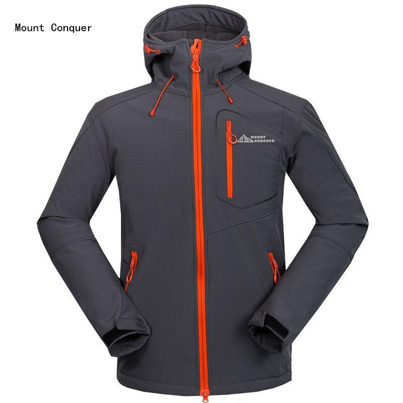 2019 New Mount Conquer Men Hiking Jacket Softshell Fleece Hard wearing Outdoor Sport Wear Windproof Waterproof Climbing Rid Coat|jacket softshell|mount conquer|hiking jackets - title=
