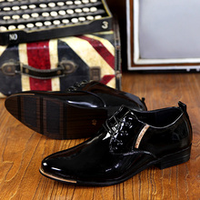 Luxury Brand British Style High Quality Carved Patent Leather Flat Lace-Up Big Size Oxford Men Wedding Shoes Black Purple