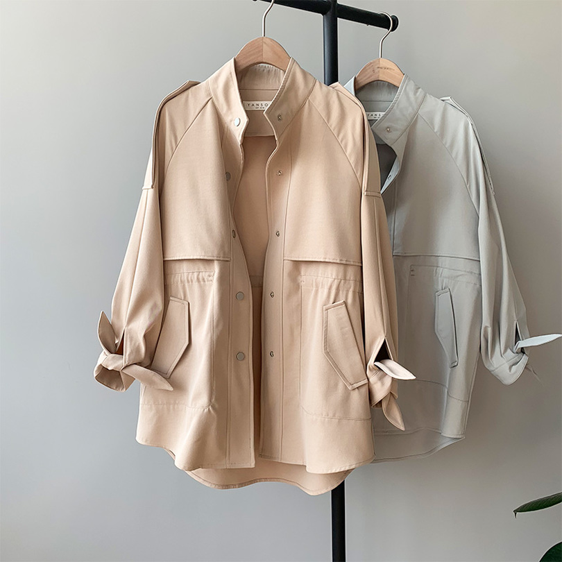 TYHRU Women   Trench   Coat Single Breasted Loose Elastic Waist Casual Coat Female Stand Collar Tops