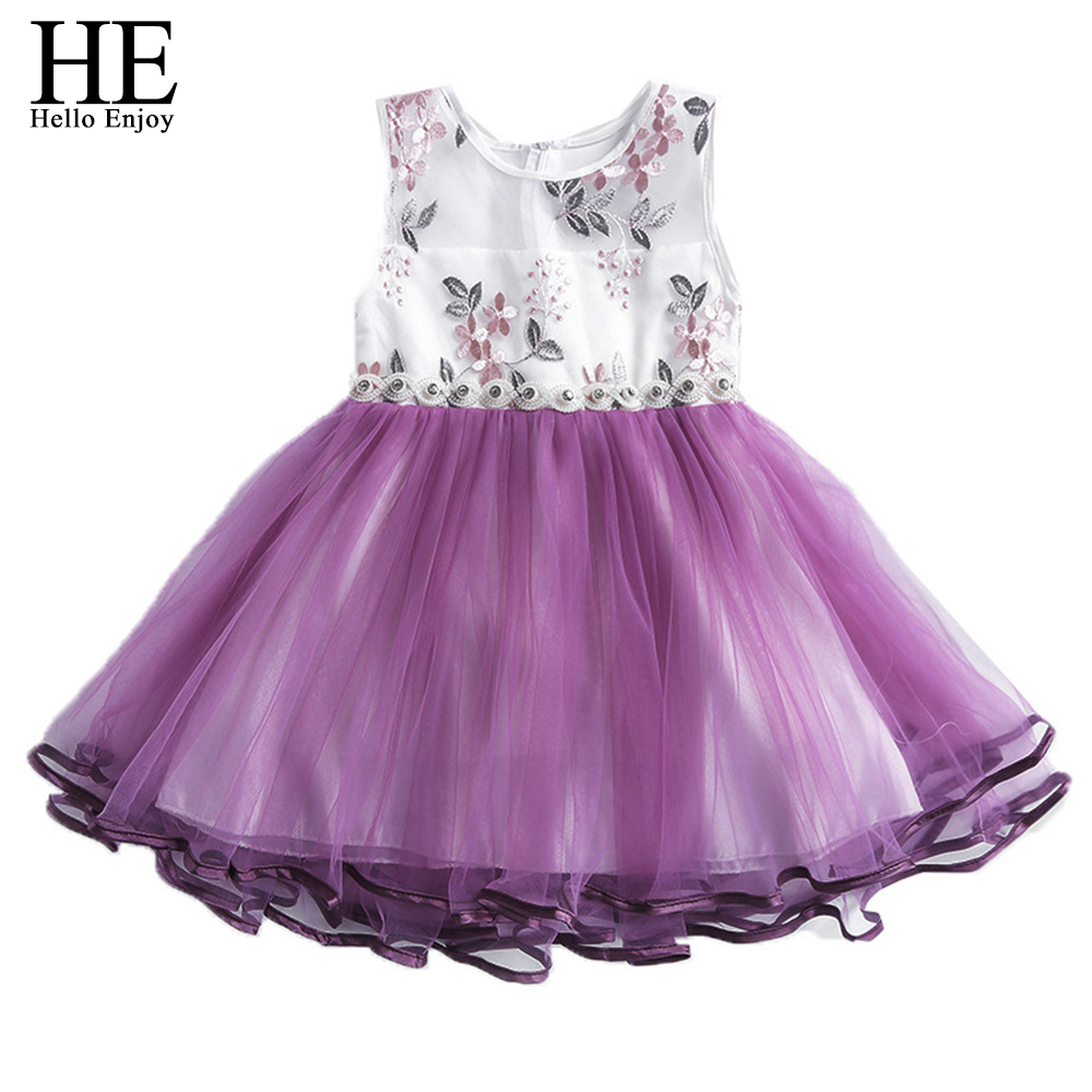 2018 New Lace Flower Girl Dresses Kids Prom Wedding Dress Ball Gown Purple embroidery Clothing Kids Dresses for girls 10 years 2017 new flower lace girls dress princess dresses solid wedding dress girl clothing sleeveless ball gown girl costume kids ds003