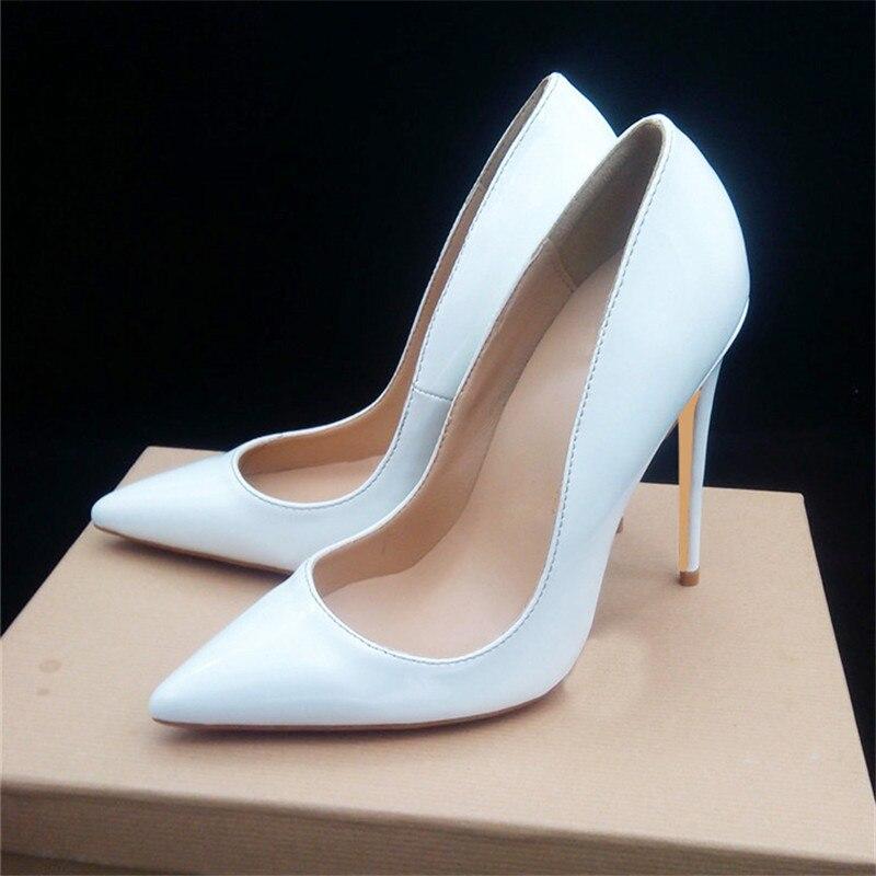 42ee1db4 Grande 10cm Altos Mujeres Charol Heels Señoras Stilettos Bombas Tamaño 12cm  Mujer Heels Punta 44 Novia Estrecha Blanco 10cm Tacones Heels 35 De Boda  Zapatos ...