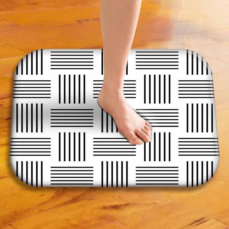 Black And White Geometric Kitchen Rug: Black And White Geometric Stripes Door Mats Kitchen Floor