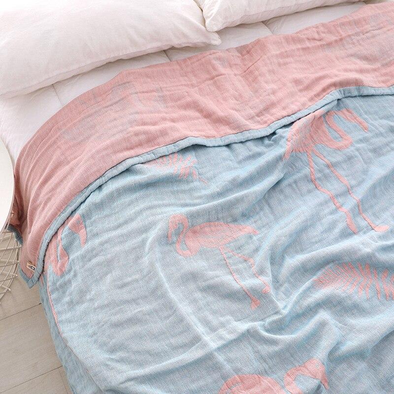 Junwell 100% coton mousseline couverture lit canapé voyage respirant rose Flamingo grande couverture douce couverture Para couverture-in Couvertures from Maison & Animalerie    2