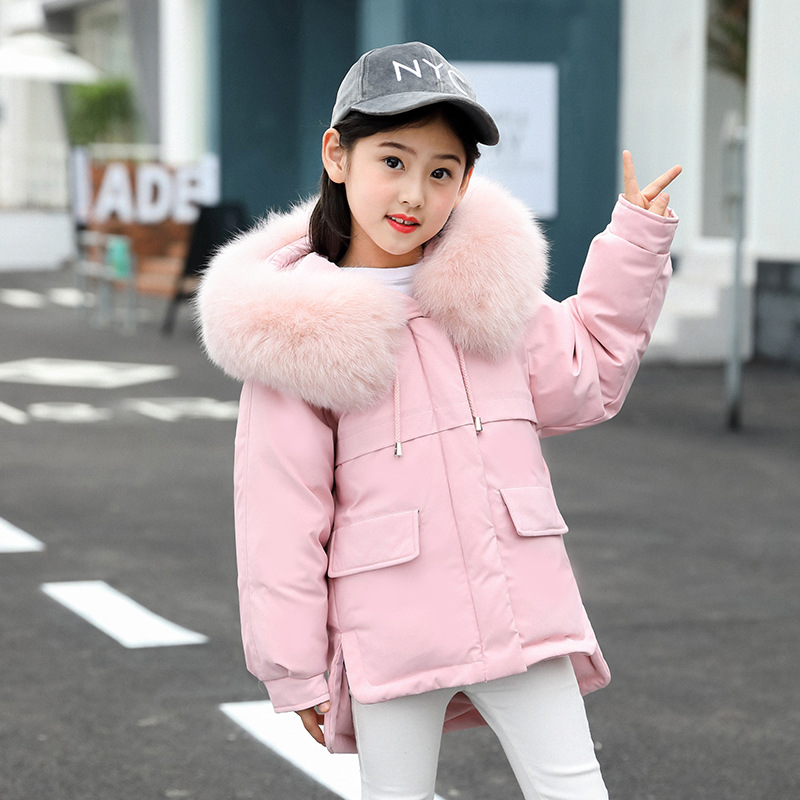 Girls Winter Duck Down Children Fashion Big Fur Collar Hooded Thickening Warm Down Jackets Coat Girls Outerwear 5 6 8 10 12 Year girls down jacket 2017 children s long winter coat fashion cartoon hooded big fur collar warm outerwear 120 150