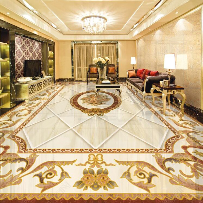 3D Tiles Floor Wallpaper European Style Marble Pattern Mural PVC Self-Adhesive Waterproof Home Decor Wallpaper Luxury 3D Sticker