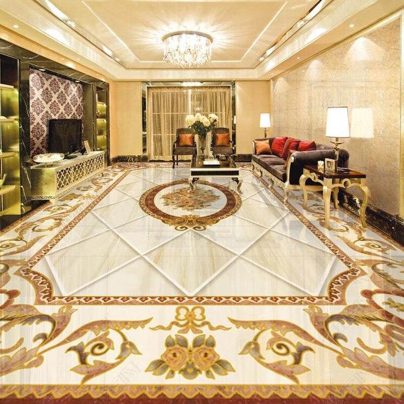 3D плитка пол обои европейский стиль мраморный узор росписи ПВХ самоклеющиеся водонепроницаемый домашний декор обои роскошный 3D стикер Обои      АлиЭкспресс