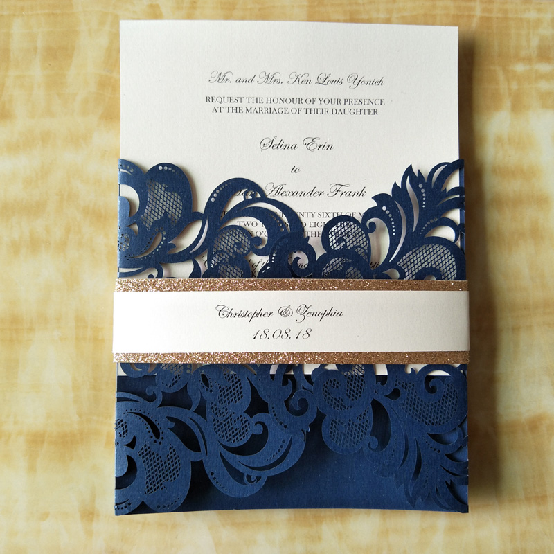 50pcs customize wedding party invitation card cover laser cut flower ...