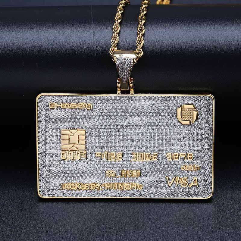 Hip Hop Micro Pave AAA cubique zircone Bling Ice Out VISA carte de crédit en or pendentifs carrés colliers pour hommes bijoux de rappeur