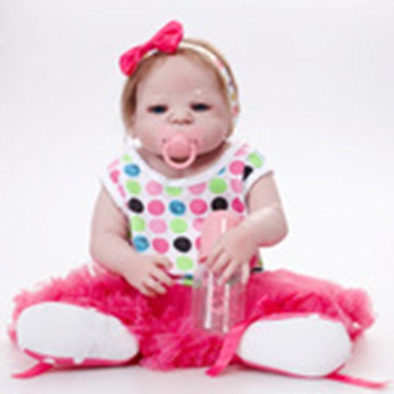 Lifelike Silicone Reborn Dolls Kids Toys font b Bebe b font Reborn Girl 55cm Full Body