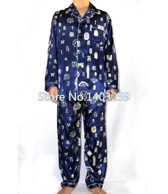 Azul marino chinos hombres traje de pijama de seda otoño nueva manga larga conjunto pijama ropa de noche ocasional 2 unids tamaño sml XL XXL XXXL MP012