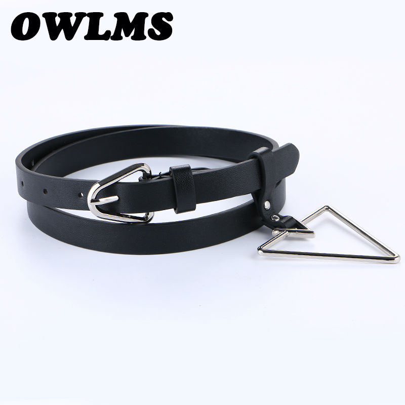 Newest Design Jeans Bels silver triangle pin buckle women casual strap   belt   thin PU leather students decorate pure solid color