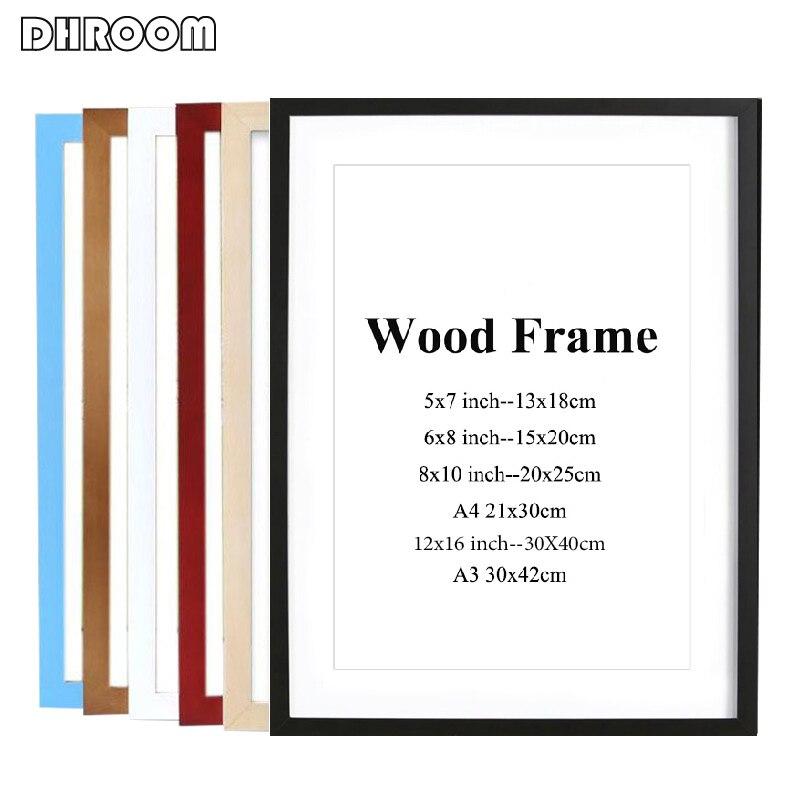 שחור לבן צבע עץ תמונה מסגרת תמונה A4 A3 עץ מסגרת טבע מוצק פשוט עץ מסגרת קיר הרכבה חומרה כלולה