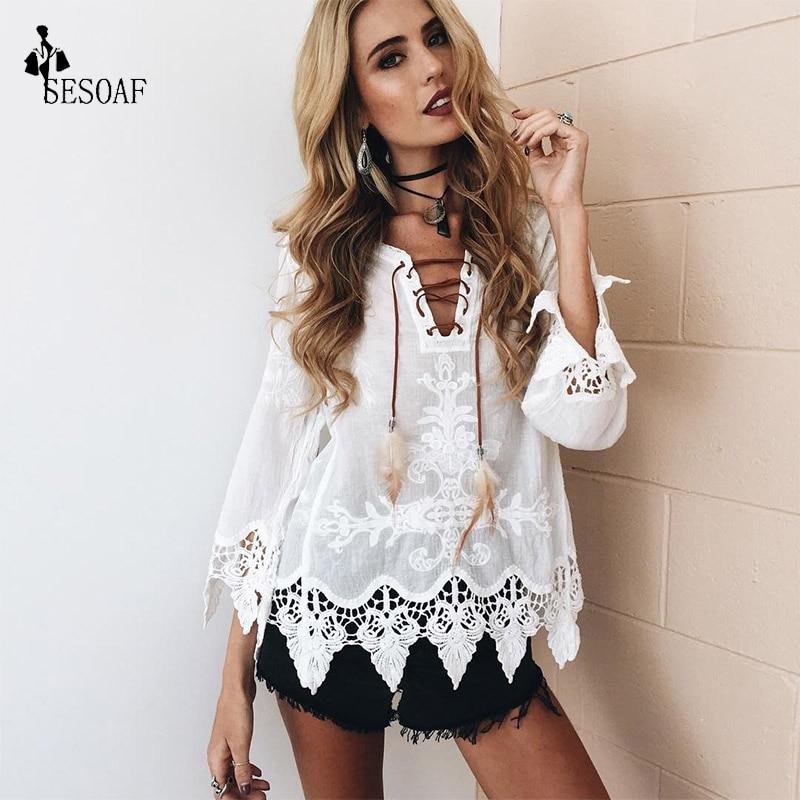 SESOAF Nuevo 2017 SummerElegant crochet encaje floral Boho Túnica blusas blanco