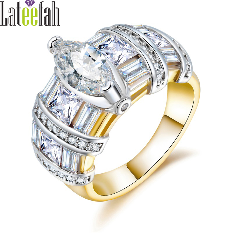 Lateefah Gold Wedding Jewelry Rings for Women Two-tone Color Marquise Cubic Zirconia Big Engagement Ring Anillos Mujer Bague
