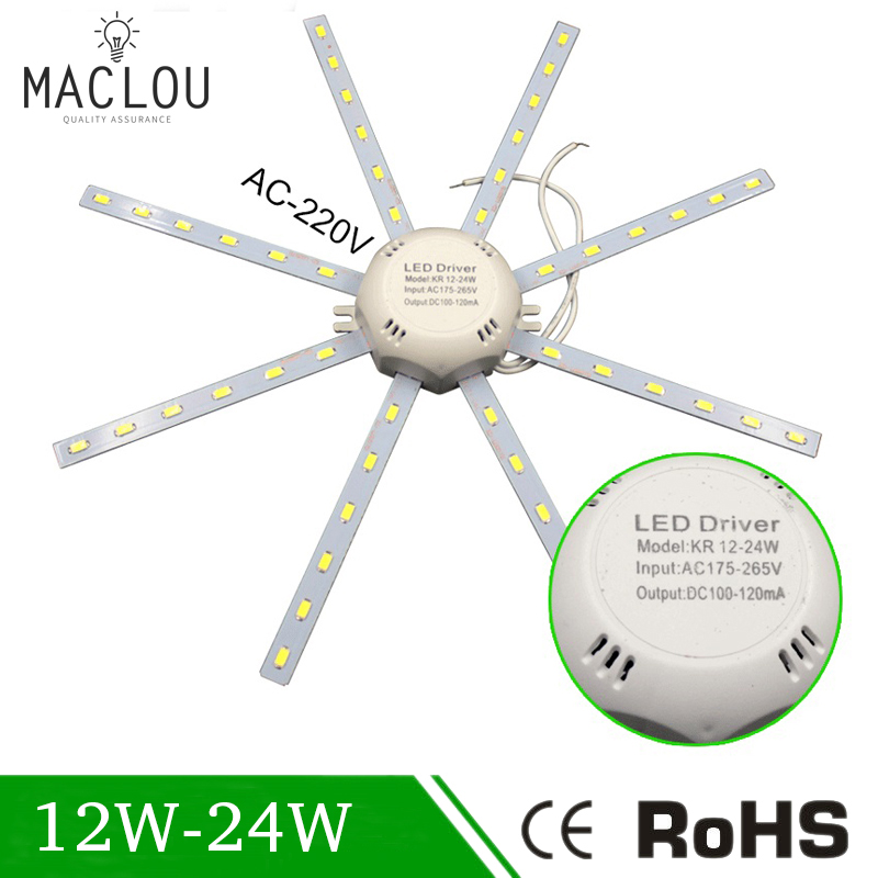 1pc Led Ceiling Lamp Tube Energy Saving Indoor Lamp High Bright 16w 220v Pcb Board Modified Bulb Plate Octopus Lights Lights & Lighting