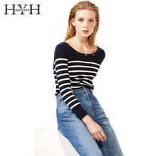 HYH HAOYIHUI Brand Women Cotton Sweaters Striped Hollow Out Back Sequined O-Neck Female Slim Pullovers Elegant Casual Tops