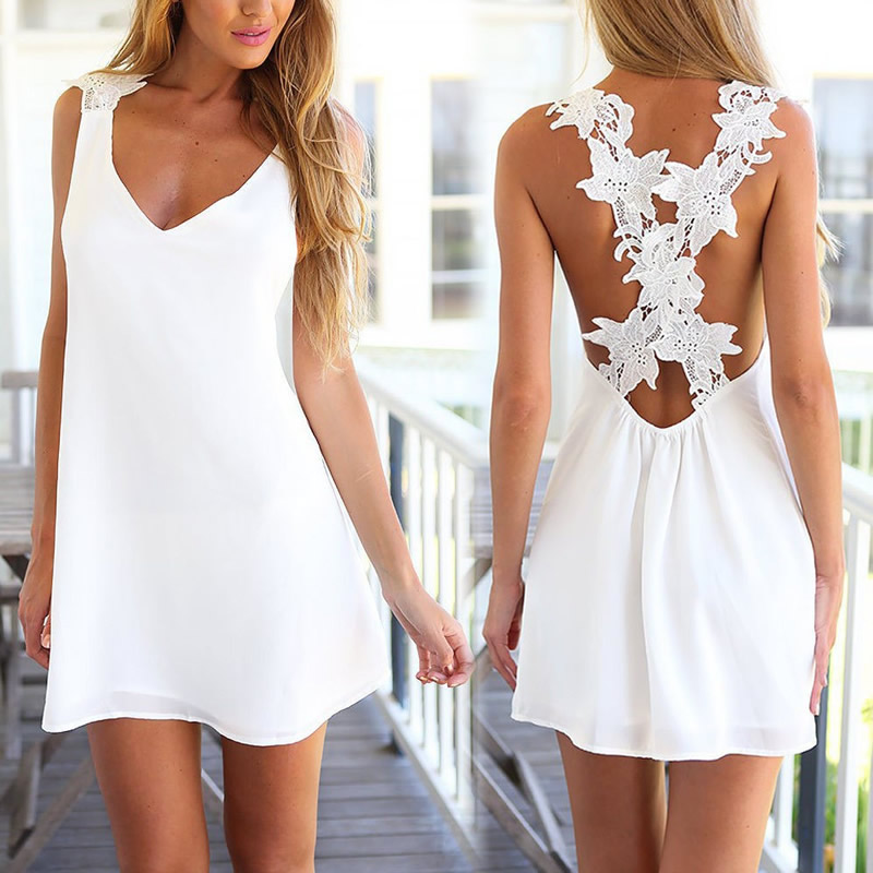 Summer Lace Embroidery Crochet Sundress V neck Sexy Beach White Dress Vestidos Femininos Backless American Apparel Dresses