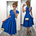 NEW Arrival Ladies Vintage Embroidery Party Dress Women's Solid Short Sleeve High Empire Sexy Backless A-line Dress