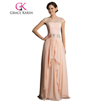 Free Shipping Chiffon Satin Apricot Long Black Evening Dresses Beaded Prom Fromal Dress Gowns 7520