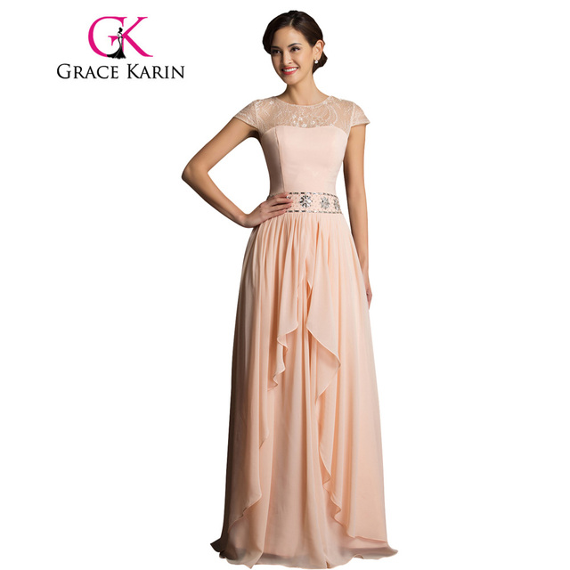38ceaf816c2 Grace Karin Chiffon Long Evening Dresses Apricot Black Cap Sleeve Elegant  Beaded Mother of the Bride