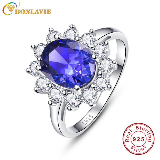 AAA+ 925 Sterling Silver Jewelry Wholesale Classic Blue Ring Stone 4.4ct Natural Tanzanite Rings for Women Size 925 Fine Jewelry