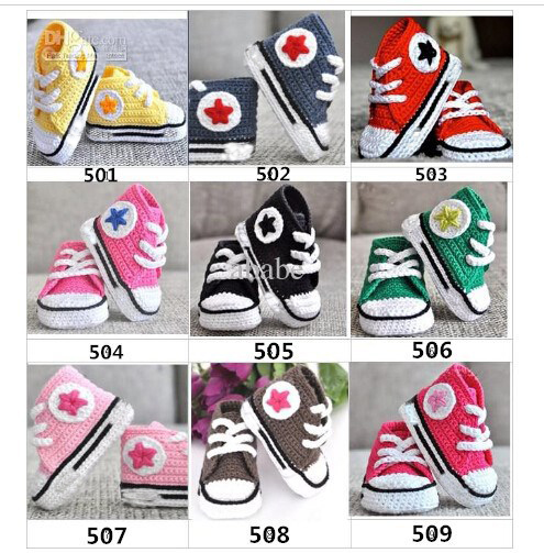 New Style 9 Color Baby Crochet Sneakers Tennis  Booties Boy Girls Infant Sport Shoes Cotton 0-12M Size 10pairs/lot Custom