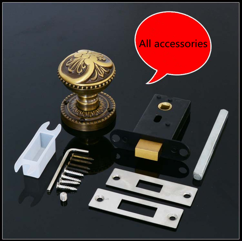 ФОТО Dark door lock invisible door lock handle pure copper bedroom European American TV background door single side lock hidden door