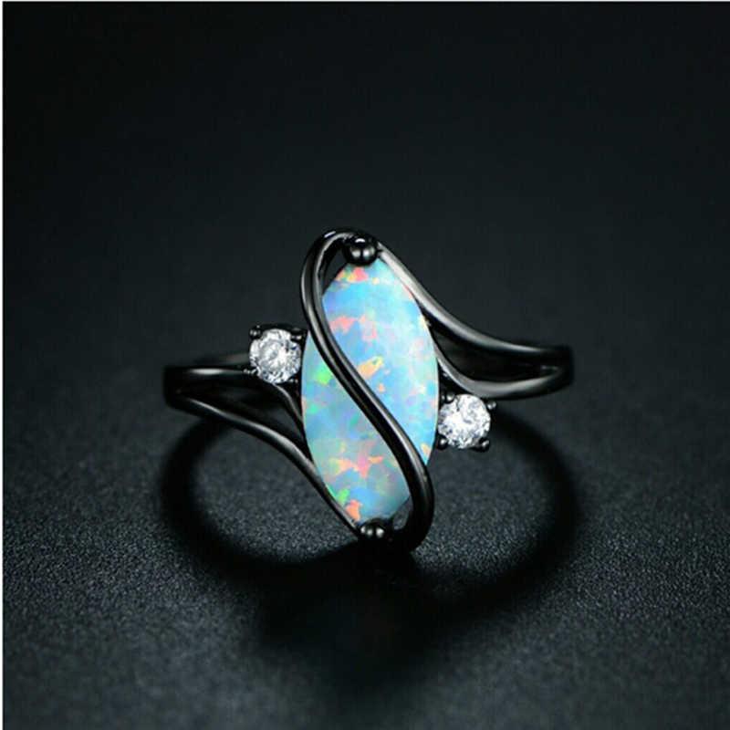 פשוט אופנה קלאסי אופנתי גדול סגלגל ביצה בצורת אש אופל טבעת מעוקב זירקון אירוסין חתונת תכשיטי טבעות לנשים A5N611