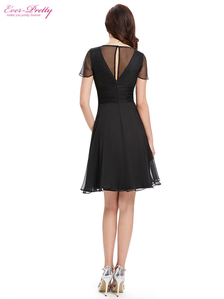 Short Sleeve V Neck Ruched Bust Chiffon Party Dress 3