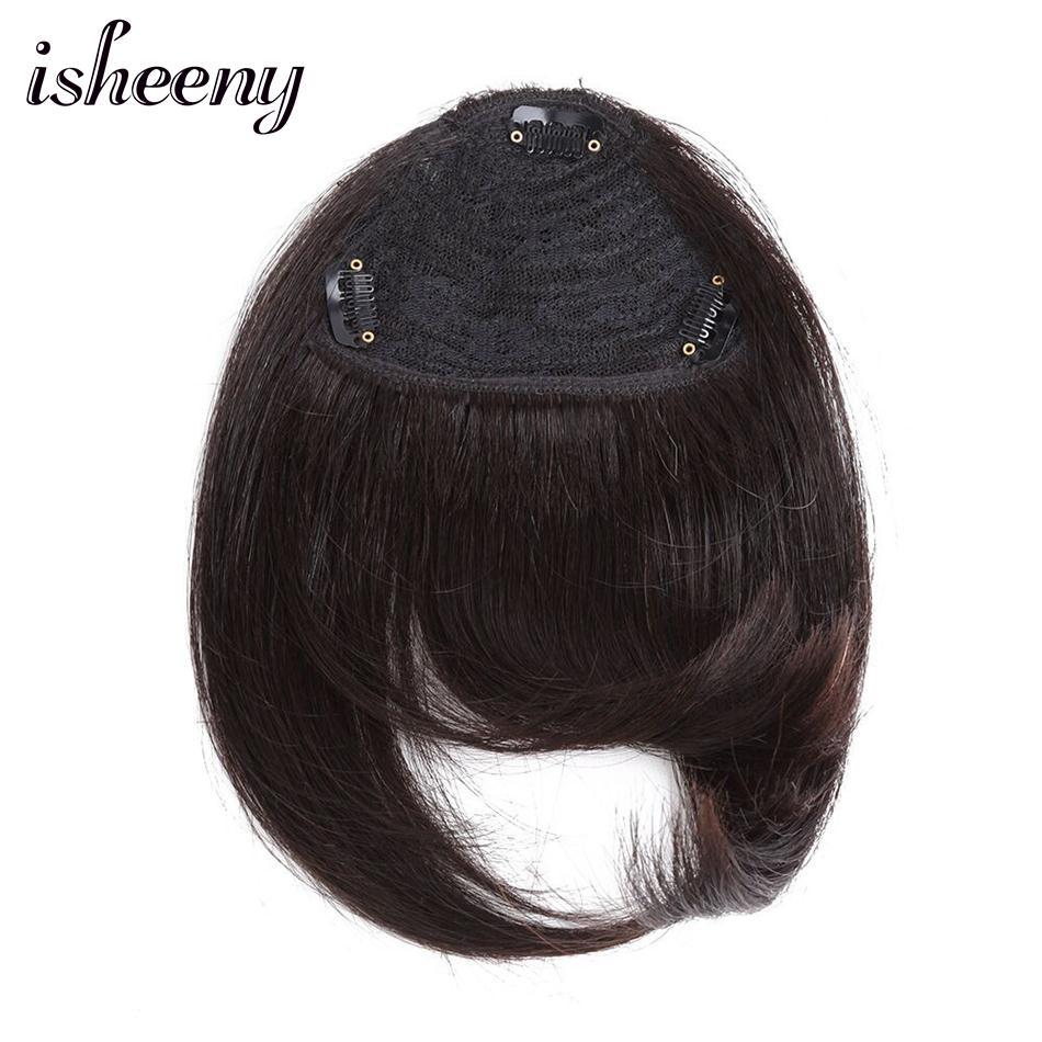 Isheeny 8 nautral Schwarz 3 Clips In Menschliches Haar Pony Gerade Haar Stück Mit Zwei Seite Ecke 20g Extensions Clip Haar Bangs