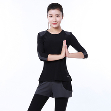 2016 New Arrival Slim Gym Fitness Wear Dancing Clothes Women 3 4 Sleeve T Shirt Pants
