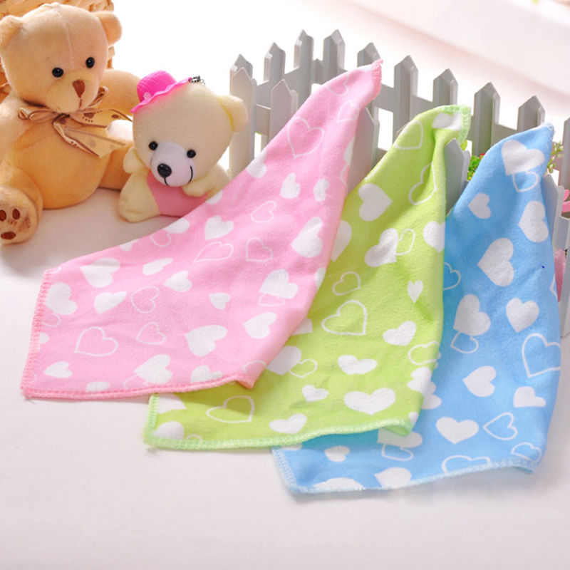 Hot Sell Soft Microfiber Baby Towel Cute Cartoon Floral Heart Infant Newborn Washcloth Bath Towel Feeding Wipe Cloth F20