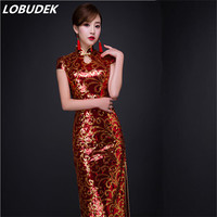 China style High grade lace sequin female long Cheongsam dress singer host show formal prom party traditional costume full dress