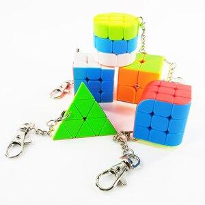Image 1 - سلسلة مفاتيح صغيرة لعبة ألغاز المكعب السحري 2x2x2 3x3x3 أسطوانة ثلاثية السطوح لعبة تعليمية للأطفال