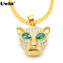Fashion Brand Leopard Animal Necklace Green Eye Iced Out Bling Bling American Cheetah Stainless Steel Pendant Hip-Hop Necklace(China)