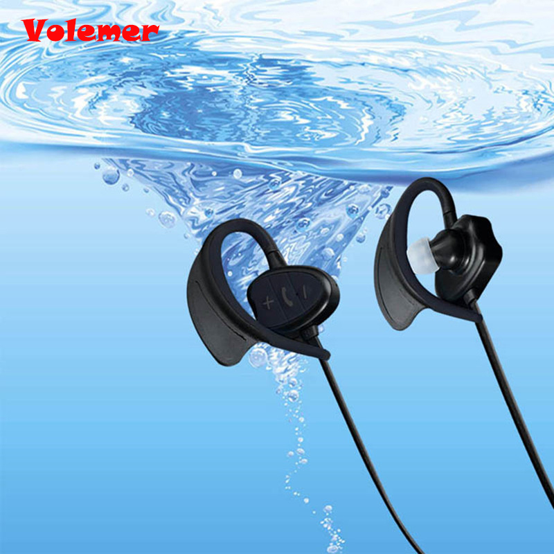Volemer New IP8 IPX8 Waterproof earbuds Wireless Bluetooth Headset for sport Stereo Handsfree earphone With Microphone for Phone