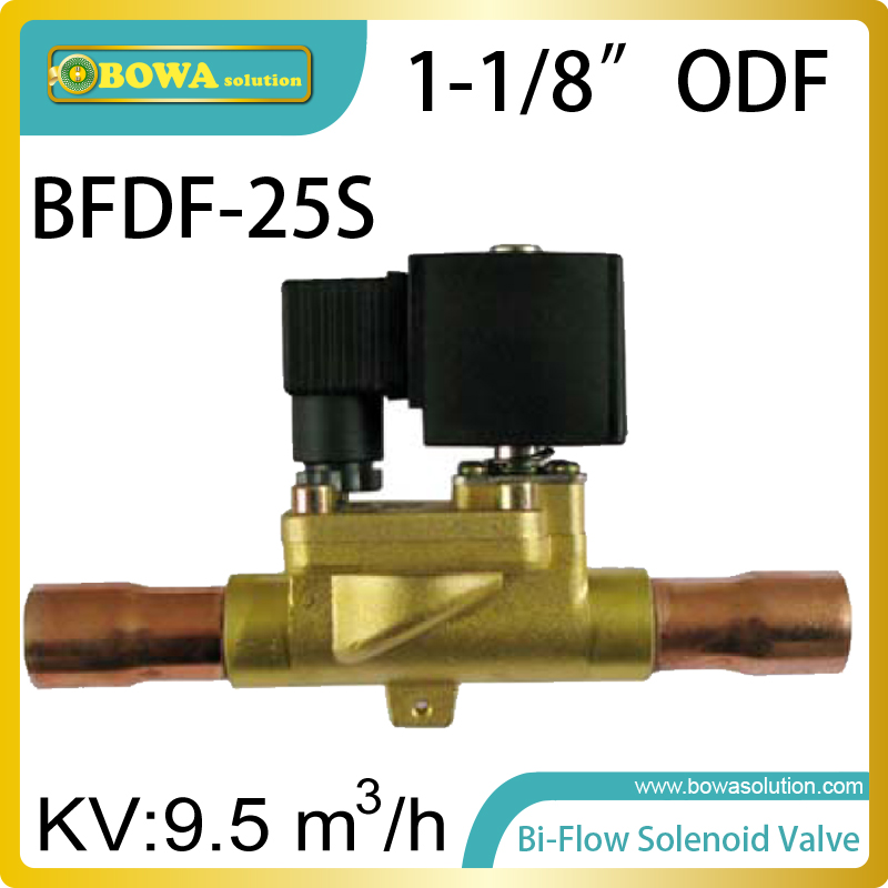 1-1/8 ODF Bi-flow solenoid valves allows the heat pump or constant temperature to switch evaporator and condenser mutully 14kw r407c heat pump water heater heat exchangers including b3 050 18 as condenser and b3 050 30 as evaporator