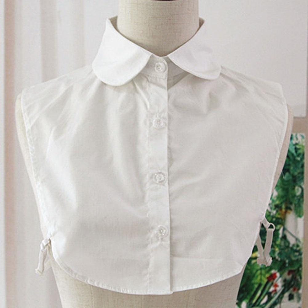 Droppsh Detachable Women Shirt Fake Collar Cotton Solid Color Lapel False Blouse Top Sweater Neckwear Ladies Clothes Accessories BFJ55