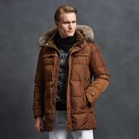 2018 Men Fashion Down Jacket 90% White Duck Down Winter Coat With Raccoon Fur Collar Jacket Mid Long Parka Coat Free Shipping