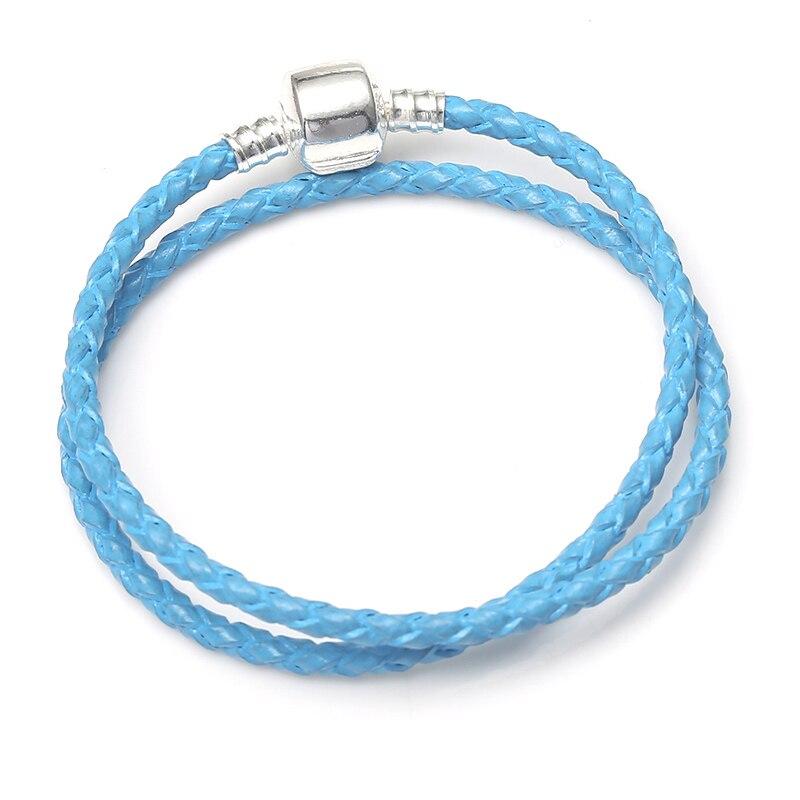 BAOPON, Прямая поставка, высокое качество, 9 цветов, кожаная цепочка, браслеты с подвесками, сделай сам, прекрасный браслет для женщин, девушек, ювелирное изделие, подарок - Окраска металла: Blue 3
