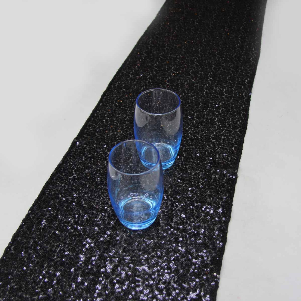 10 Pcs 30*183cm/12*72 Inches Black Sequin Table Runner For Wedding Decoration Banquet Party Decoration Mariage Table Runners