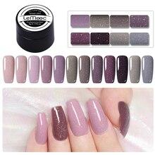 LEMOOC Gel Nail Polish 5ml Purple Pink Glitter Sequins 3D Nails Vernis Semi Permanant UV Gellak DIY Art Varnish