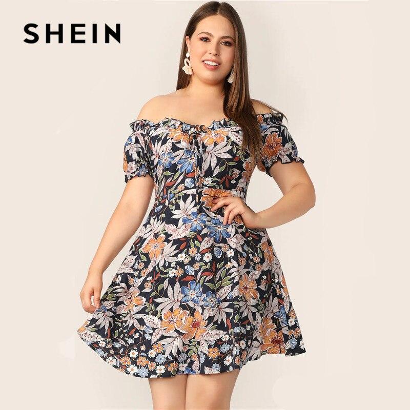 Шеин плюс размеры многоцветный оборками с открытыми плечами ботанический цветочный принт платье 2019 для женщин Лето Boho Fit and Flare трапециевидн