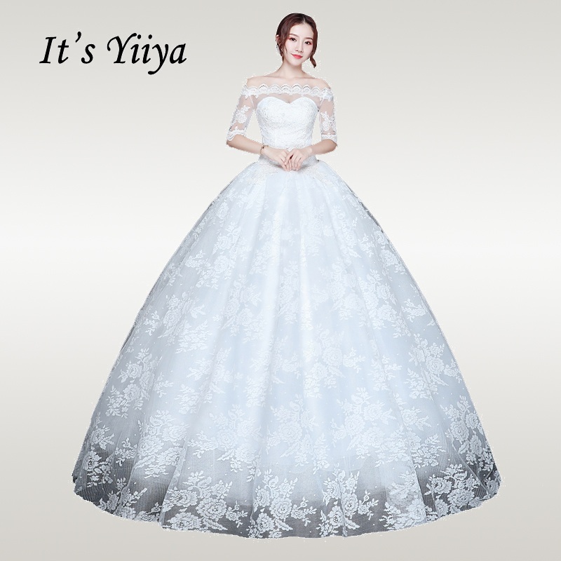 It's YiiYa Wedding Dress 2019 Full Pattern Elegant White Half Seeve Weddding Dresses Plus Size Boat Neck Vestido De Novia XXN220