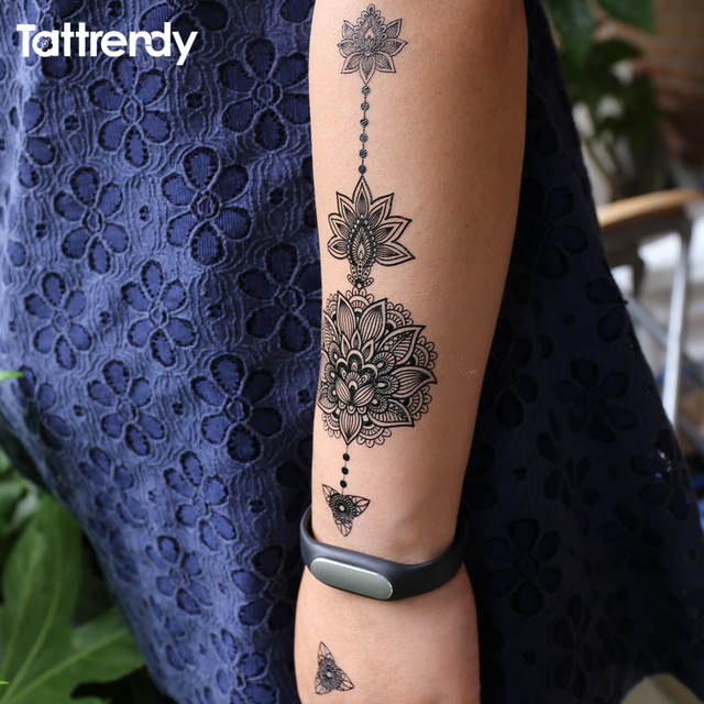 Online Shop Black Women Henna Temporary Tattoo Stickers Lace Large